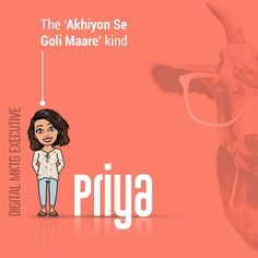 Out of numerous qualities that Priya possesses, she's is best described by her dramatic expressions💁♀, her comic timing😂 and ofcourse her bigger than usual eyes👀! No wonder she has an eye for detail🔎😜 .