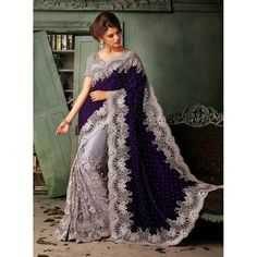 Dazzling Purple & Silver Embroidered Saree With Shimmer Blouse Gives Beautiful Look. - Sonal Saree