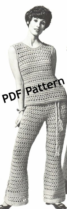 Remember Bellbottoms? Hippie Bellbottom Pants and Top crochet pattern. by BubbleGumInTheMail, $4.25