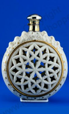 RARE ANTIQUE & VINTAGE SCENT PERFUME BOTTLES: c.1875 GRAINGER  RETICULATED IVORY PORCELAIN SCENT PERFUME BOTTLE, SILVER GILT TOP. To visit my website click here: http://www.richardhoppe.co.uk or for help or information email us here: info@richardhoppe.co.uk