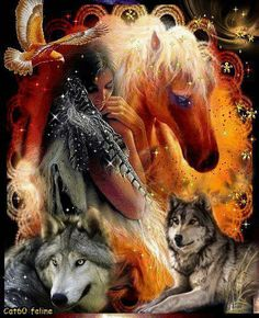 Wolves, Indian Girl w/ Horse