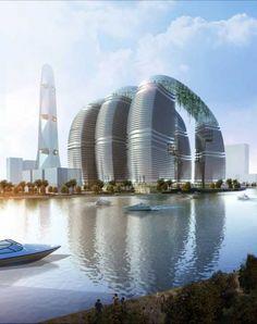 Cool, futuristic buildings.