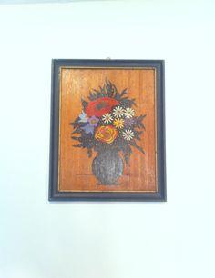 Still Life Flowers On Wood Vintage Wood Painting Black by Pesserae, $11.00
