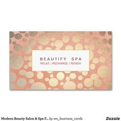 Modern Beauty Salon & Spa Faux Gold Pink Double-Sided Standard Business Cards (Pack Of 100)