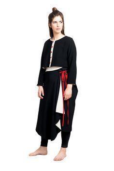 Wickelrock Asymmetrisch Duster Coat, Jackets, Dresses, Fashion, Red Ribbon, Linen Fabric, Monochrome, Cotton, Nice Asses