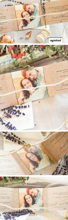 Eine kreative Bastelidee für die Hochzeitseinladung. Mit dieser Überraschung erstaunt Ihr Eure Hochzeitsgäste. #herbst #knoten #diy #anleitung #basteln #hochzeit #tutorial #selbstgemacht #hochzeitseinladung #einladung #papier #vintage #tietheknot #wedding