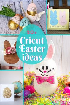 Over 20 cricut easter ideas to start making now! Make your own DIY Easter decor, gifts, and crafts with these fun Cricut projects. #cricut #easter Easter Projects, Easter Crafts For Kids, Easter Ideas, Diy Easter Decorations, Coloring Easter Eggs, Cricut Craft, Easter Candy, Home Crafts, Make Your Own