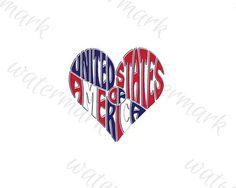 Digital United States of America Word Art in Heart shape