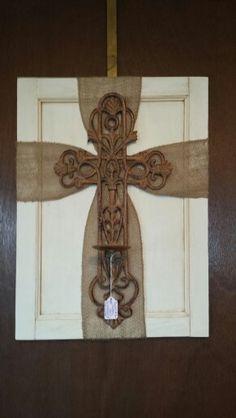 Repurposed cabinet door...Burlap cross candle holder By Petals & Lace