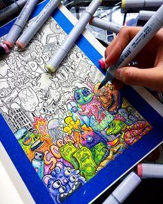 Doodle Drawings, Doodle Art, Copic Art, Doodle Ideas, Art Sketchbook, Drawing Ideas, Art Inspo, Keyboard, Room Ideas