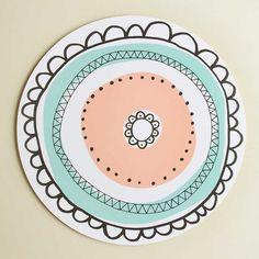 Aura-kakkualusta värikäs, iso | Aura cake plate, mint and peach | www.käpynen.fi