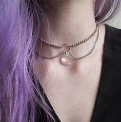 jewels necklace choker necklace moon crystal quartz tumblr Crescent Necklace, Moon Necklace, Opal, Chokers, Opals