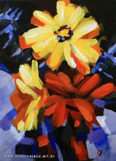 Floral painting 5x7 small original acrylic on by cristinajaco, $55.00