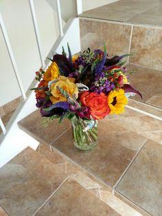 Colorful rustic bridal bouquet by Eden's Echo
