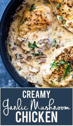 Poulet aux champignons parmesan crémeux à l'ail (Keto faible en glucides) | Gimme Delicious