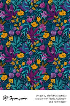 Customize your own home decor, #wallpaper and #fabric at Spoonflower. Shop your favorite indie designs on #fabric, #wallpaper and home decor products on Spoonflower, all printed with #eco-friendly inks and handmade in the United States. #patterndesign #textildesign #pattern #digitalprinting #homedecor #tropical #flowers #garden
