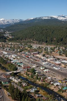 """Downtown Truckee Aerial - Downtown Truckee photographed from a small amphibious seaplane with the door removed. Historic Aerials, Lake Tahoe Resorts, Us Vacation Spots, Lake Tahoe Nevada, Truckee California, Truckee River, Earth View, Banff National Park, National Parks"
