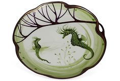 "Rare Art-Nouveau Fish Plate by Hermann Gradl for Nymphenburg, made from 1899-1970.  Commissioned for the Exposition Universelle in Paris.  A set of these plates is in the Victoria and Albert Museum, 9.5"" Diameter, purple and green.  Sold for $169."