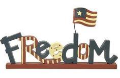 Blossom Bucket Americana Folk Art FREEDOM Block Patriotic Flag 4th of July