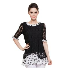 Shirt Women Cotton Lace Blouse Plus Size Pink Black Women's Bottoming Shirts Tunic Sexy Butterfly Sleeve Womens Tops and Blouses