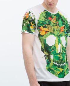 ZARA - HOMBRE - Camiseta calavera flores