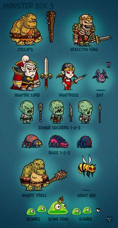 Monster Box 3 - #EatCreatures #gameart #cartoon #characters http://eatcreatures.com/item/monster-box-3/