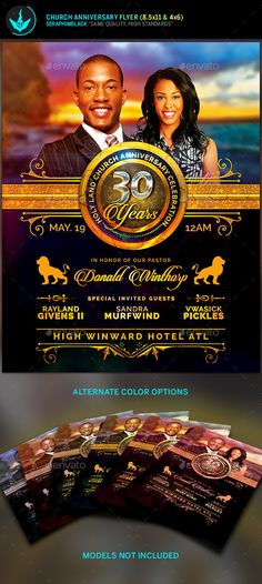Royal Church Anniversary Flyer Template — Photoshop PSD #clergy appreciation month #kingdom • Available here → https://graphicriver.net/item/royal-church-anniversary-flyer-template/15489502?ref=pxcr