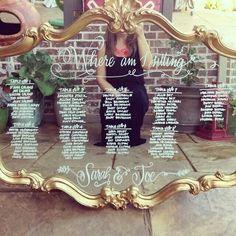 50 Ideas For Mirror Seating Chart Wedding Diy Place Cards Rustic Seating Charts, Mirror Seating Chart, Table Seating Chart, Wedding Table Seating, Wedding Places, Wedding Place Cards, Tableau Marriage, Diy Wedding, Dream Wedding