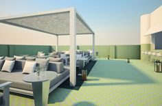 The Spa terrace at the Metropolitan By COMO. Easy chic in Miami Beach.