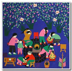 Under the Chinese honey locust trees, women and girls are shampooing their hair, using the well water and the Chinese honey locust leaves. Granny is shampooing her granddaughter's hair. Mom unties her daughter's hair. The fragrance attracts butterflies, they are flying among the trees.