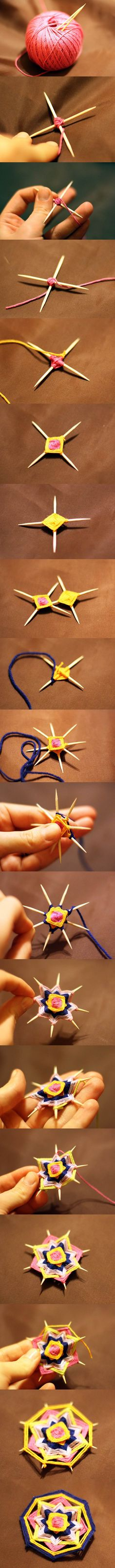 mandala en laine tissée DIY Weave a Mandala Brooch with Toothpicks Crafts To Do, Yarn Crafts, Crafts For Kids, Arts And Crafts, Kids Diy, Ideias Diy, String Art, Handicraft, Diy Art