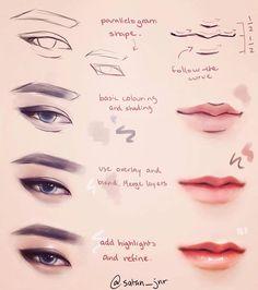 Eye and lip digital painting tutorial