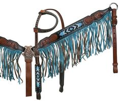 Showman ® Black and medium leather headstall and breast collar set with beaded inlay and suede fringe. - This headstall and breast collar feature black and medium leather with beaded inlay. - Breast c Barrel Racing Tack, Barrel Saddle, Barrel Horse, Bling Horse Tack, Cowgirl And Horse, Horse Riding Gear, Horse Gear, Western Bridles, Western Tack