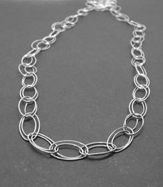 Long Chain Necklace Oval Sterling Silver by GirlBurkeStudios, $60.00