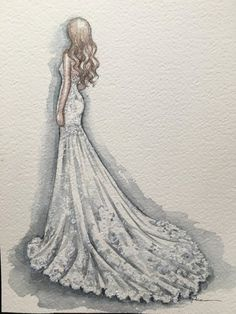 Steps for Portrait Drawing with Charcoal - Drawing On Demand Wedding Dress Drawings, Wedding Drawing, Fashion Design Portfolio, Fashion Design Sketches, Fashion Illustration Sketches, Design Illustrations, Cute Disney Drawings, Fashion Figures, Best Portraits