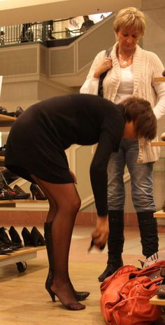 Candid Pantyhose by Denierman on DeviantArt Black Nylons, Short Skirts, Hosiery, Candid, Tights, Stockings, Deviantart, Legs, Shopping