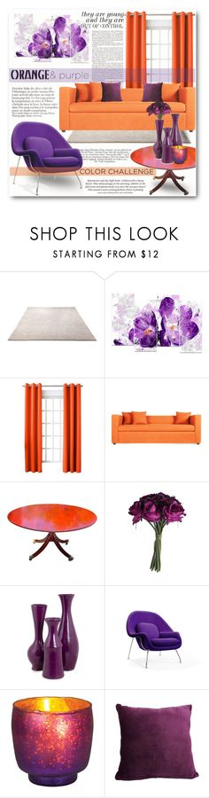 """""""Color Challenge: Orange and Purple"""" by katyusha-kis ❤ liked on Polyvore featuring interior, interiors, interior design, home, home decor, interior decorating, ESPRIT, Chanel, Sun Zero and Blu Dot"""
