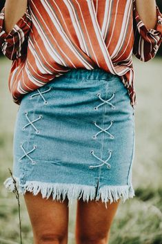 denim lace up skirt, stripe top, boho chic, style blogger, fashion blog, style inspo, ootd, outfit ideas