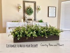 Rustic Planter Box Centerpiece with Greenery, Farmhouse Table Centerpiece, Floral Arrangements with Greenery, Mantle Decor