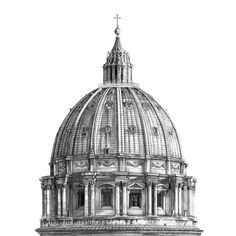 St Peter's Dome Rome architectural art print