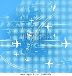 Airplanes trajectories over the map of europe