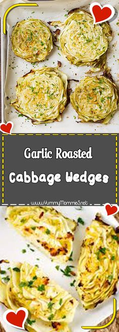 Garlic Roasted Cabbage Wedges Via #yummymommiesnet #dinner dinner #recipes recipes #sundaysupper sunday supper ideas #dinnerrecipes dinner recipes #dinnertime dinner time #easydinner easy dinner recipes for family