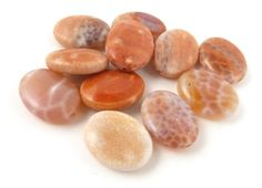 Fire Agate Gemstone Beads // Smooth Oval Agate by CastoGemstones, $11.00