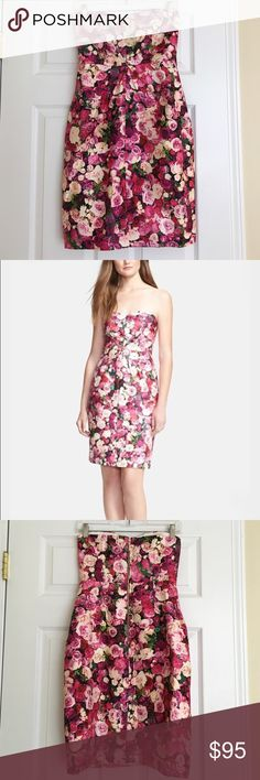 Kate Spade strapless rose floral dress The perfect dress for the next wedding or special occasion you're attending! In perfect condition! Great zipper detail down the back! 32 inches long. 54% cotton, 46% silk. kate spade Dresses Strapless