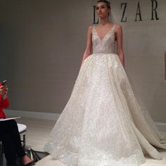 New York Bridal Fashion Week Show fall 2016 new collection wedding dress designer bridal gown catwalk runway lazaro ball gown v neckline http://wedding-dress-tips.us