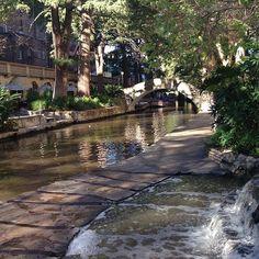 Waterfall at La Mansion Omni Hotel, near Crockett Street Bridge, San Antonio Riverwalk
