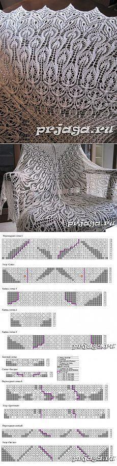 шали палантины шарфы   Простые схемы. Экономим время на Постиле wonderful lace shawl