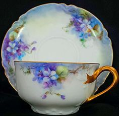 """FABULOUS HAVILAND LIMOGES RARE DEMITASSE CUP & SAUCER """" WITH STUNNING BRIGHT PURPLE & BLUE FLOWERS"""" This is a beautiful Haviland Limoges cup & saucer is a beautiful pattern with bright purple & blue w"""