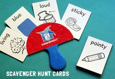Scavenger hunt game- These printable cards could be used for word-finding therapy, teaching adjectives and developing vocabulary. Scout Activities, Speech Activities, Language Activities, Scavenger Hunt For Kids, Scavenger Hunts, Games For Kids, Activities For Kids, Projects For Kids, Crafts For Kids