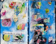 Art Journal page by Tammy Garcia, Part of the Daisy Yellow Groovy Grunge Workshop! #alteredbook #mixedmedia #artjournal